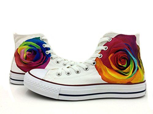 8dd72970f045 Hand Painted Rainbow Roses All Star Converse Shoes White High Top Chuck  Taylor Unisex Sneakers Women s Canvas Converse