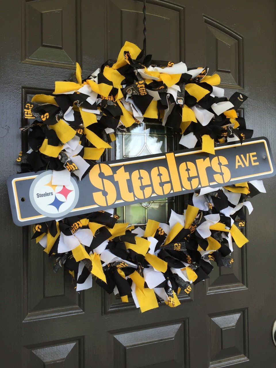 pittsburgh steelers nfl fabric wreath with street sign by on etsy