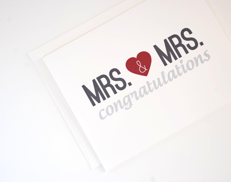 Lesbian Wedding Card Mrs Mrs Congratulations Card Lesbian