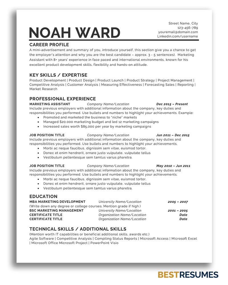 One Page Resume Template Noah Ward Bestresumes Info In 2020 One Page Resume Template One Page Resume Simple Resume Template