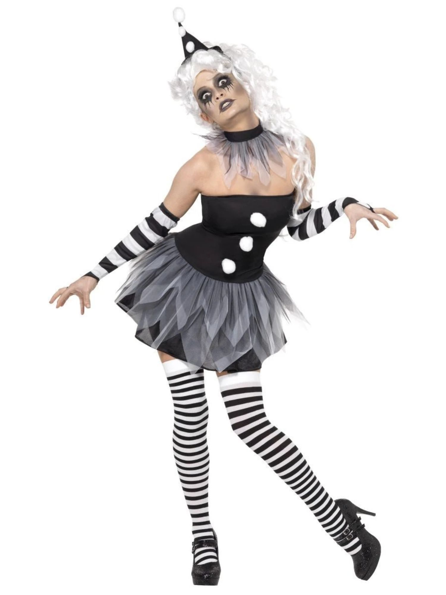 "49"" Black and White Sinister Pierrot Women Adult Halloween"