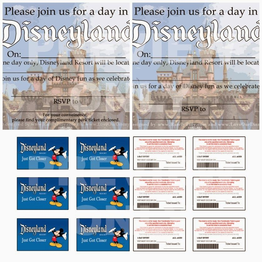 "free printable disneyland themed party invites and ""park tickets, Birthday invitations"