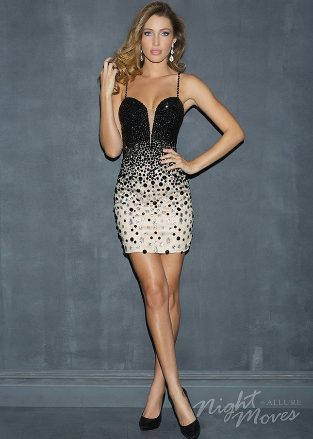 Sexy Short Night Moves 7025 Nude Black Beaded Bandage Dress Sale ...