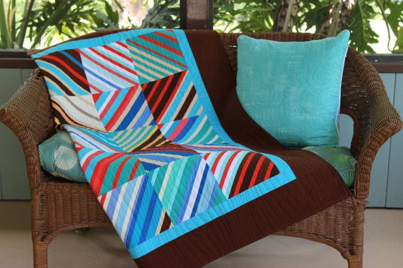 "NEW! Modern Multi-Color Striped Handmade Patchwork Throw Quilt, Wall Hanging, ""Divided Diagonally"", 52"" x 58"""