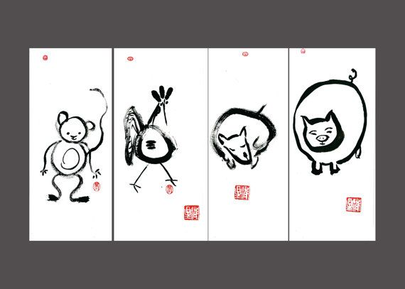 Chinese New Year Zodiac 12 Animals Set Original Sumi Ink Brush Paintings Asian Zen Decor Childs Room Nursery Art Feng Shui Tao Chinese New Year Zodiac Sumi Ink Zen Painting
