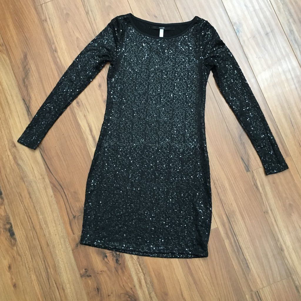 Xs kenzie long sleeve black sequin dress products