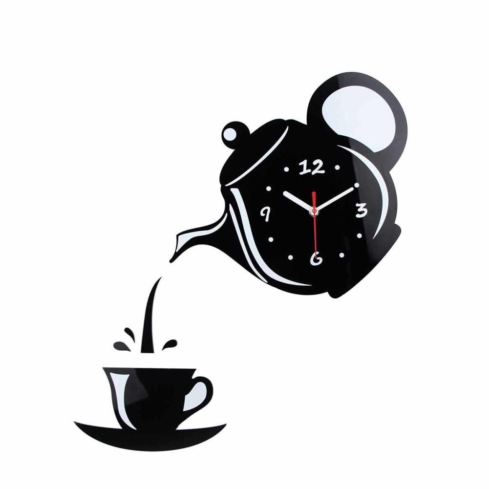Photo of Creative 3D Teapot Cup Acrylic Mirror Wall Clock Stickers DIY Home Decor Decals – Black
