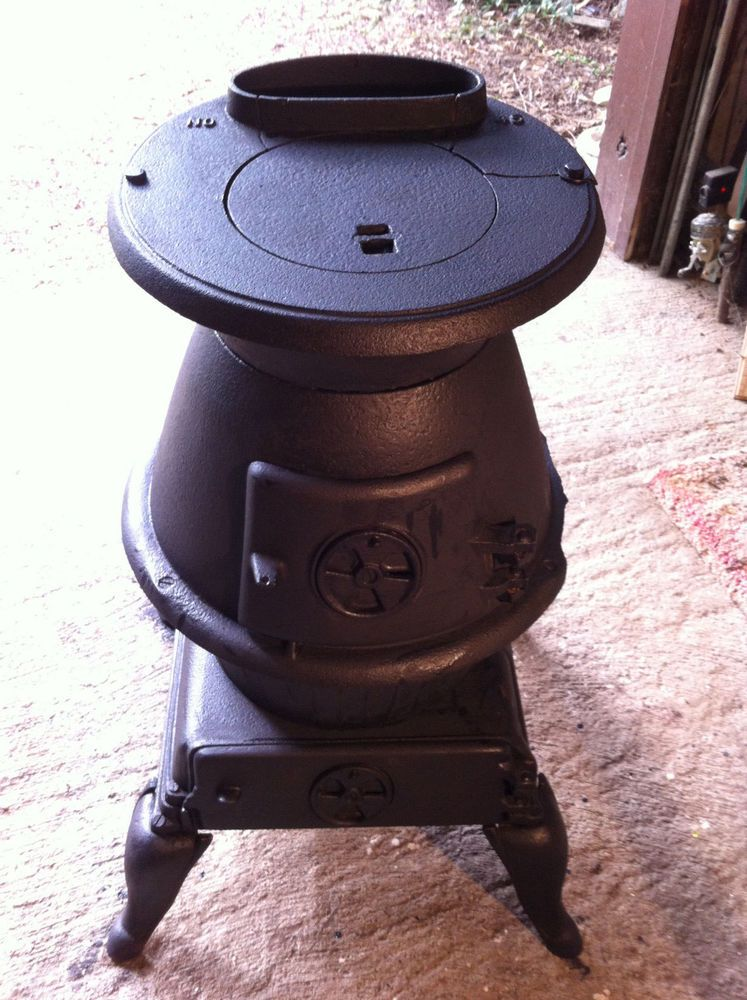 Vintage Pot Belly Wood Burning Stove Cast Iron By