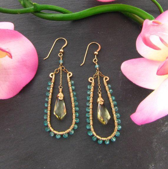 wire wrapped chandelier earrings by thegemgypsy on etsy | earring ...