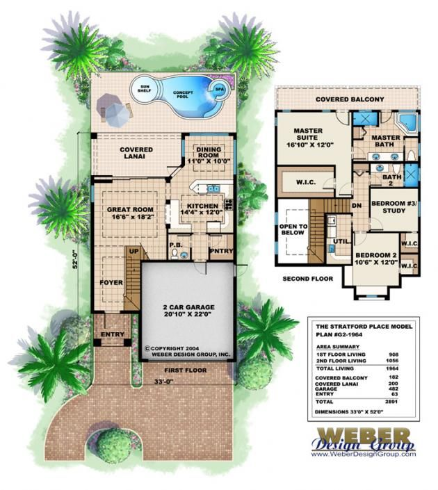Narrow Floor Plan - Stratford Place House Plan | Home | Pinterest