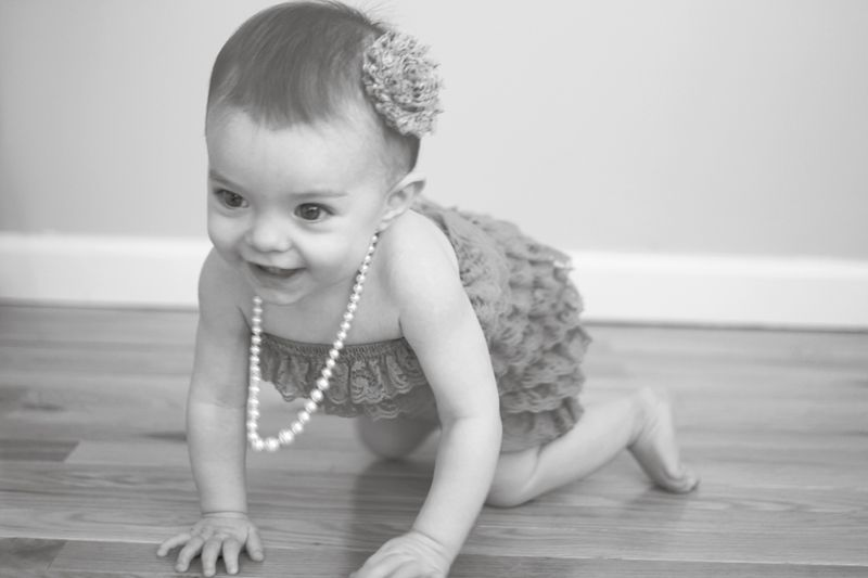 First birthday cake smash photos by Holly Cromer Lace ruffle romper and pearls