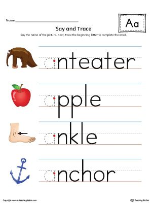 Say and Trace: Short Letter A Beginning Sound Words Worksheet (Color)