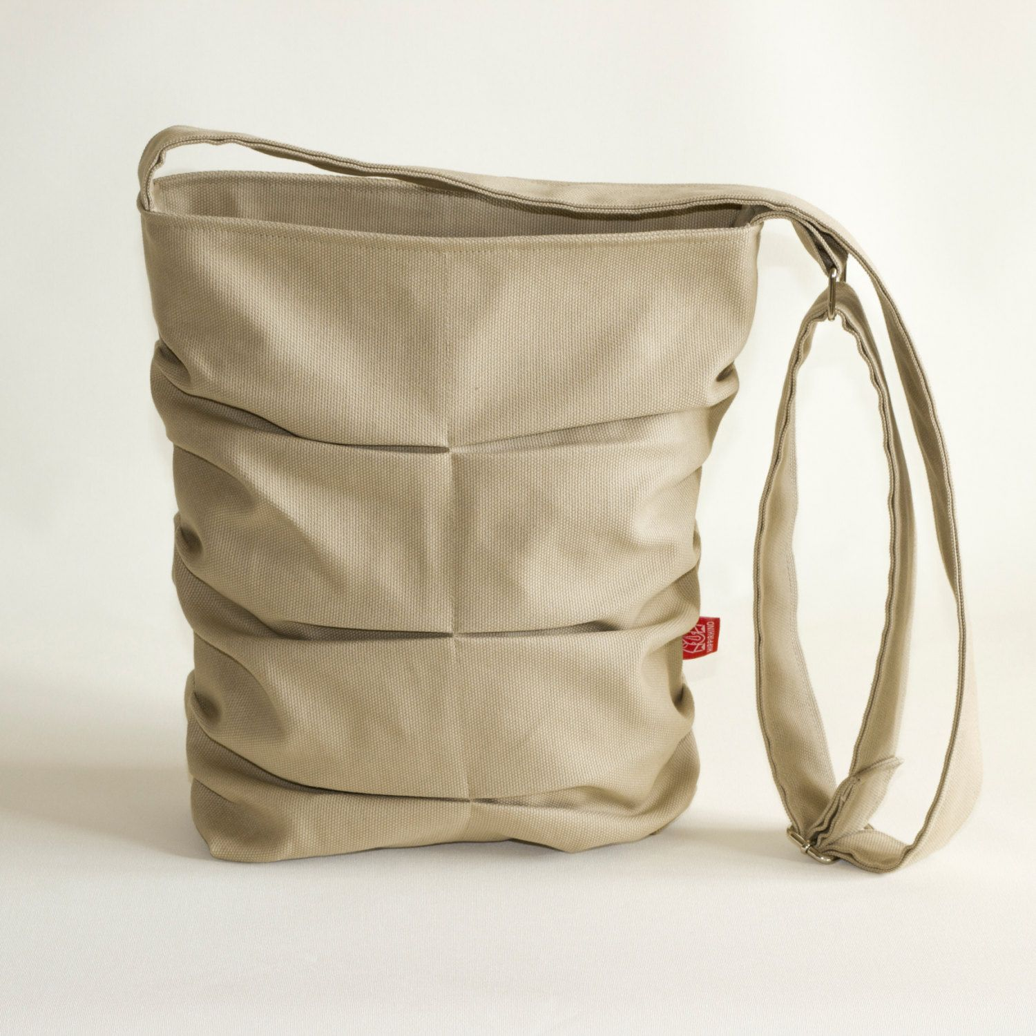 Light Brown Handmade Small Bag Pleated Long Strap Crossbody Shoulder Tote Purse Diaper Gift