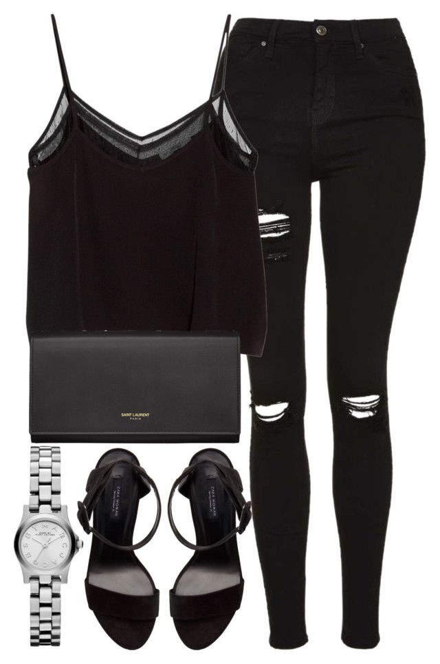 """""""Untitled #2674"""" by elenaday ❤ liked on Polyvore featuring Topshop, MANGO, Zara and Yves Saint Laurent"""
