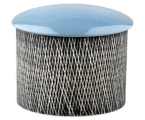 Refugio nórdico: Caja de cerámica vidriada - blanco, negro y azul