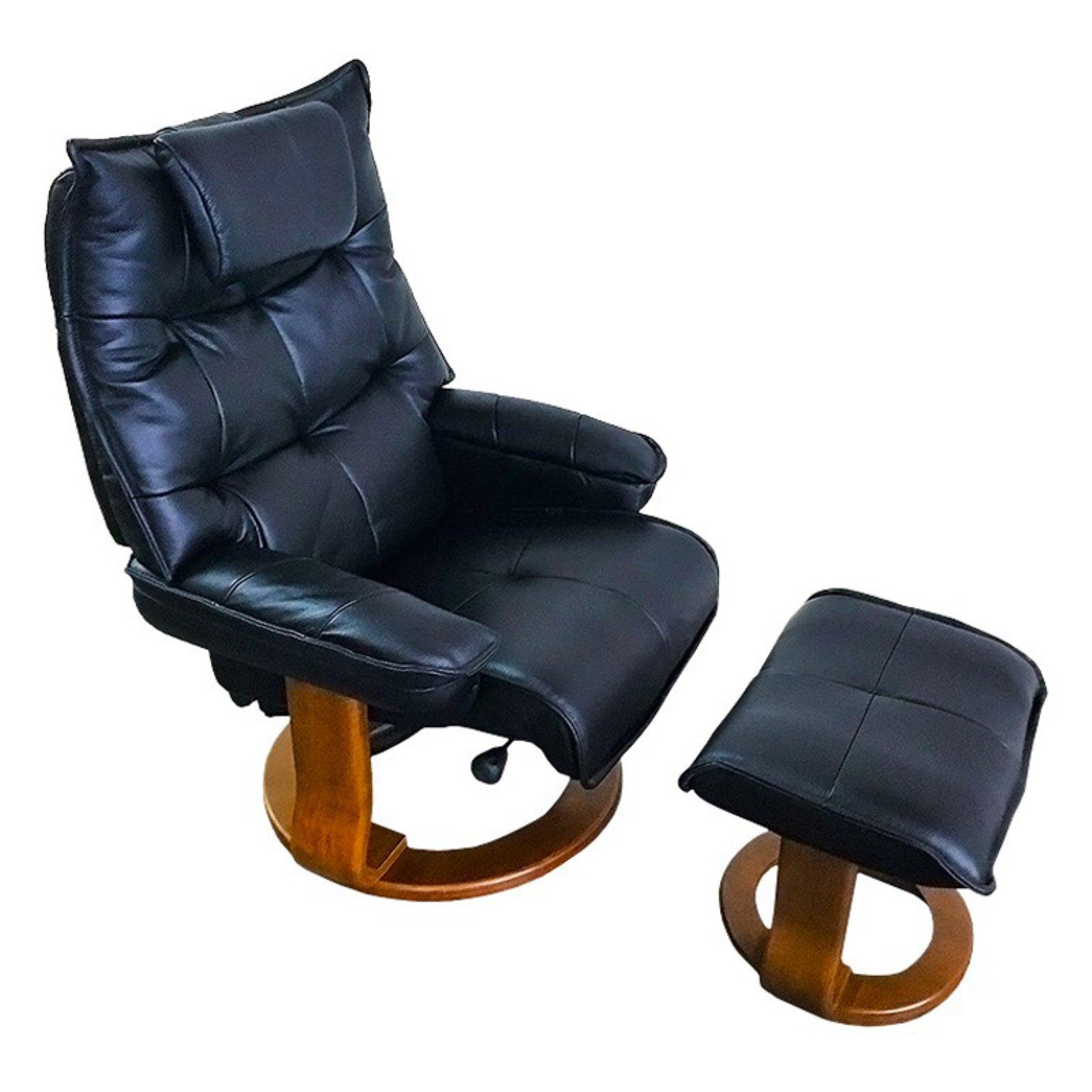 World Source Design Hana Leather Recliner And Ottoman Black