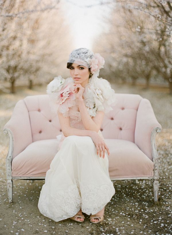 An Erica Elizabeth headpiece adds vintage glamour to this French lace gown. #Weddings
