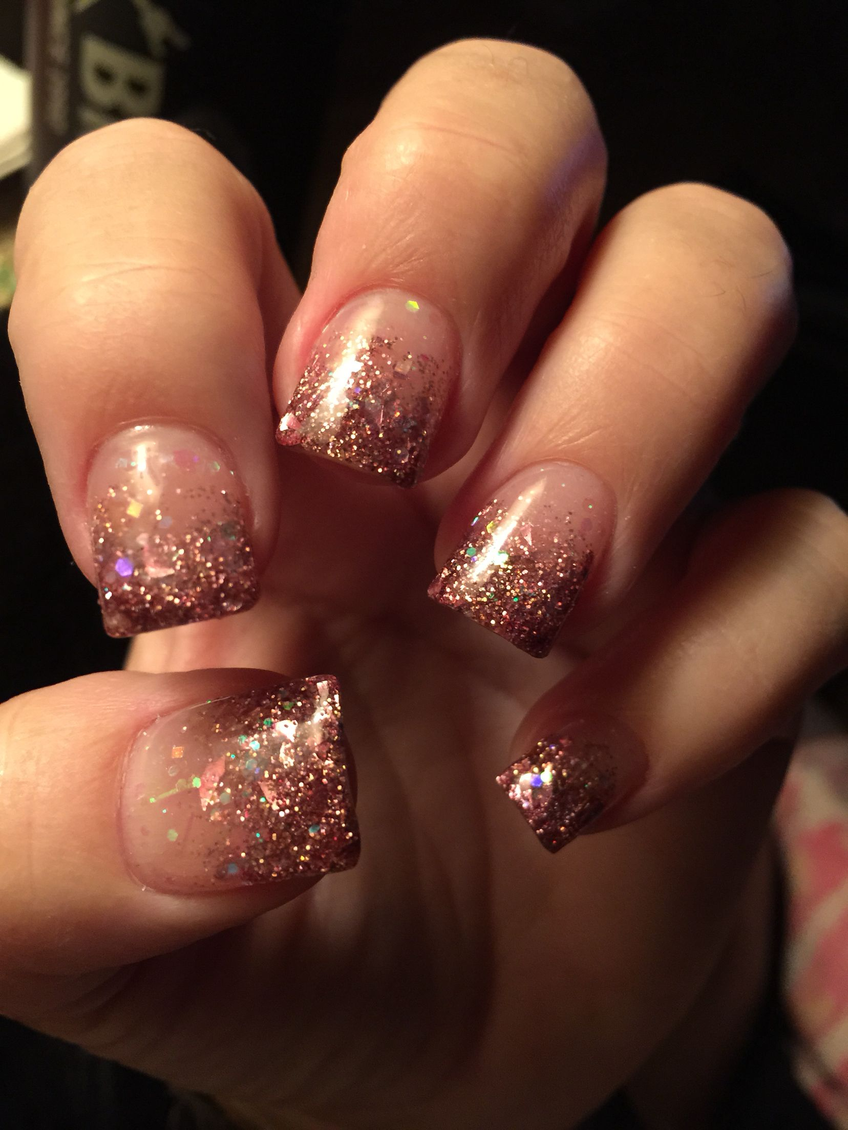 Chic Champagne Colored Faded Acrylic Nails Fall Acrylic Nails Sparkle Nails Holiday Nails