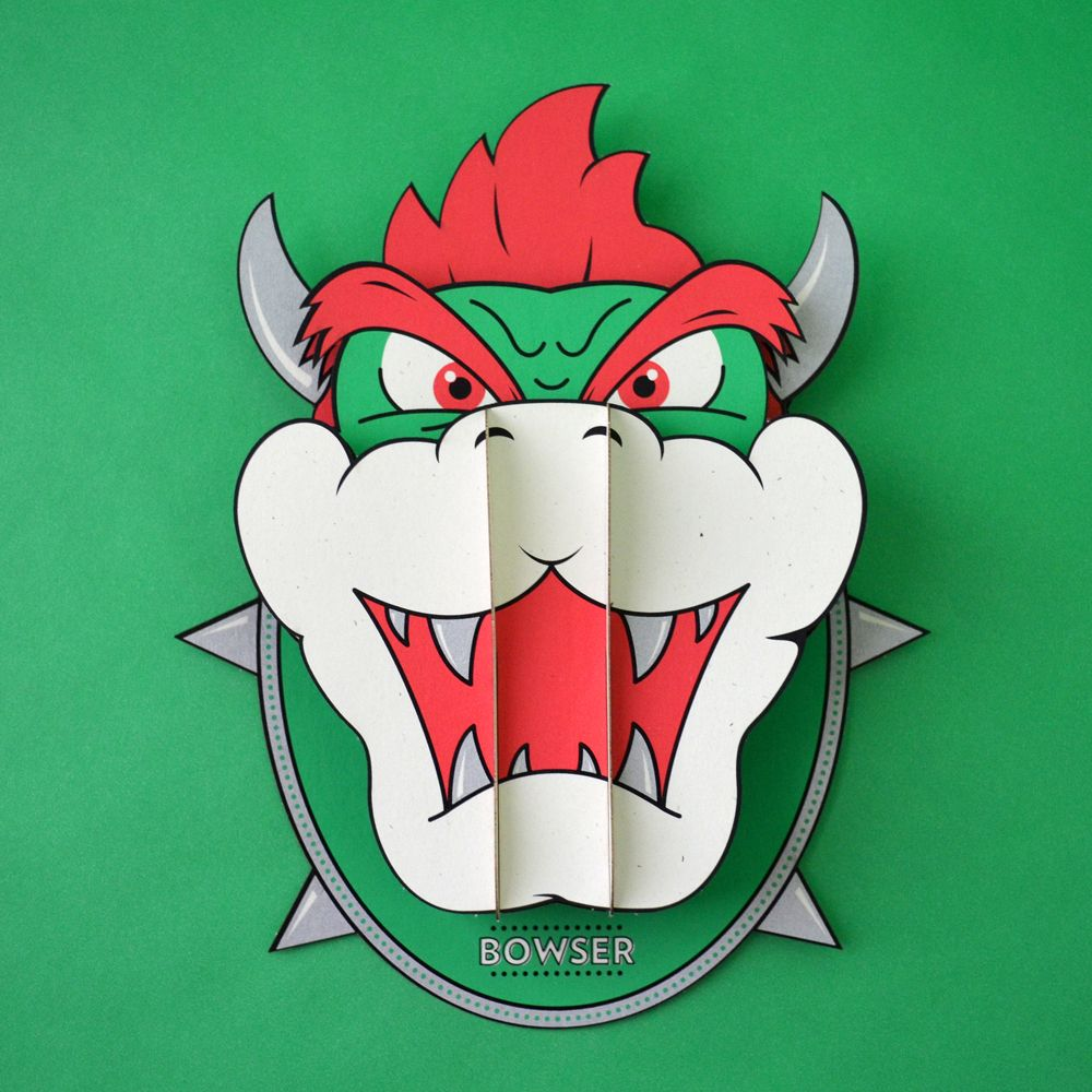 One day I'll buy this Bowser paperkraft head by Tommy Perez.