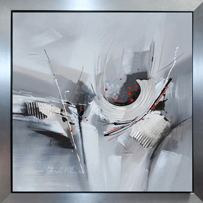 Contemporain Gris Peinture Abstraite Toile Peinture