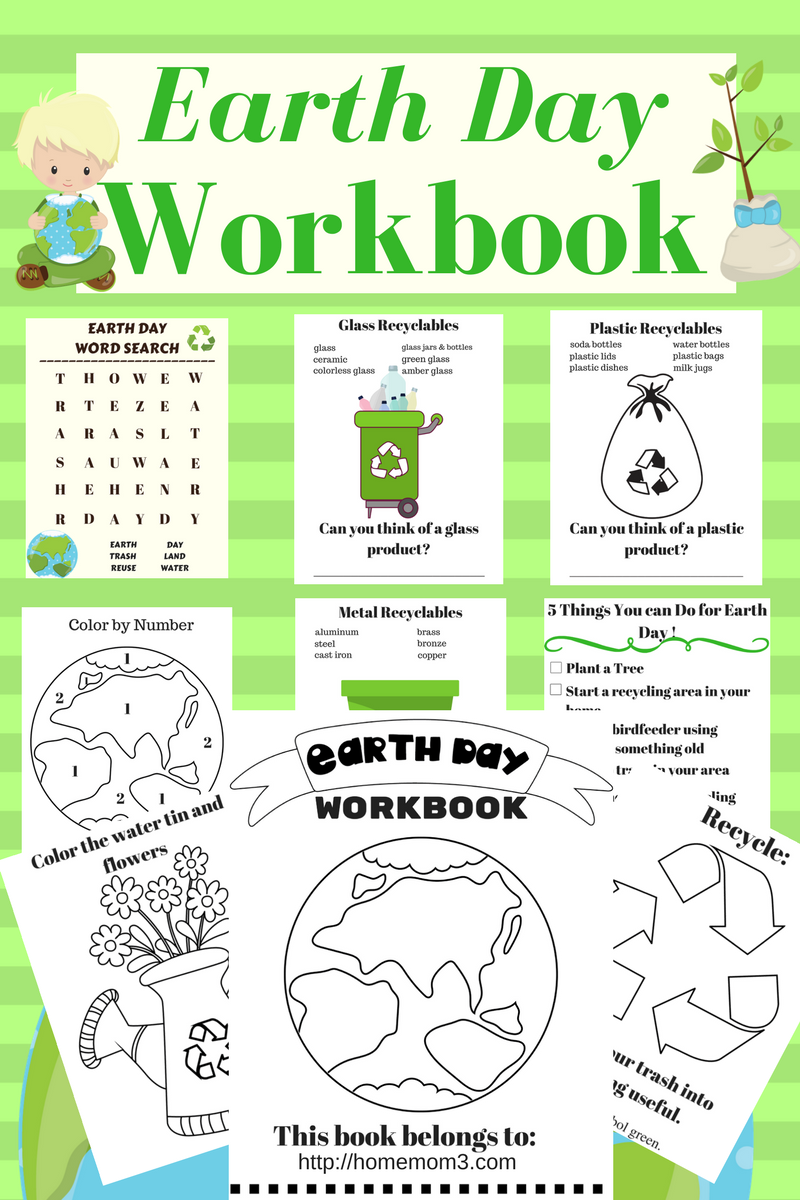 download your free earth day workbook for little ones inside are