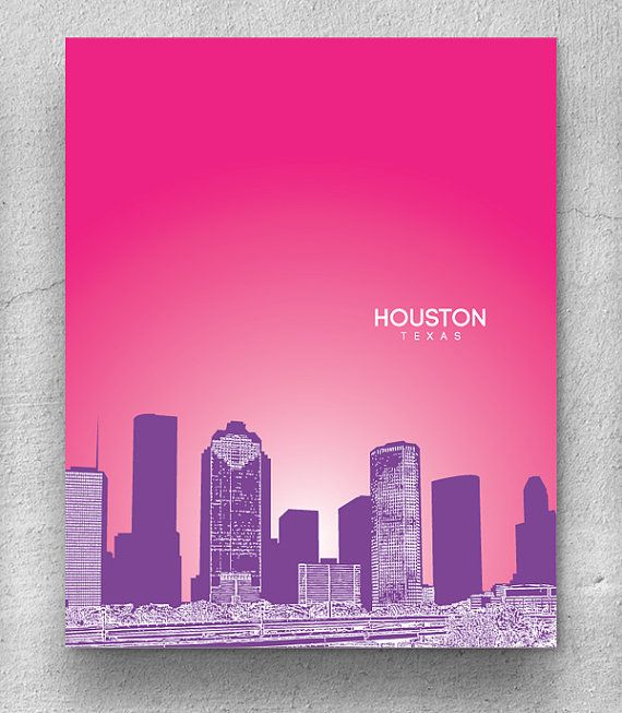 Houston texas skyline poster home office or nursery wall art poster any city