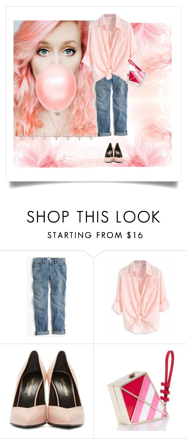 """""""Bubblegum  Pink"""" by petalp ❤ liked on Polyvore featuring J.Crew, Yves Saint Laurent and Kate Spade"""
