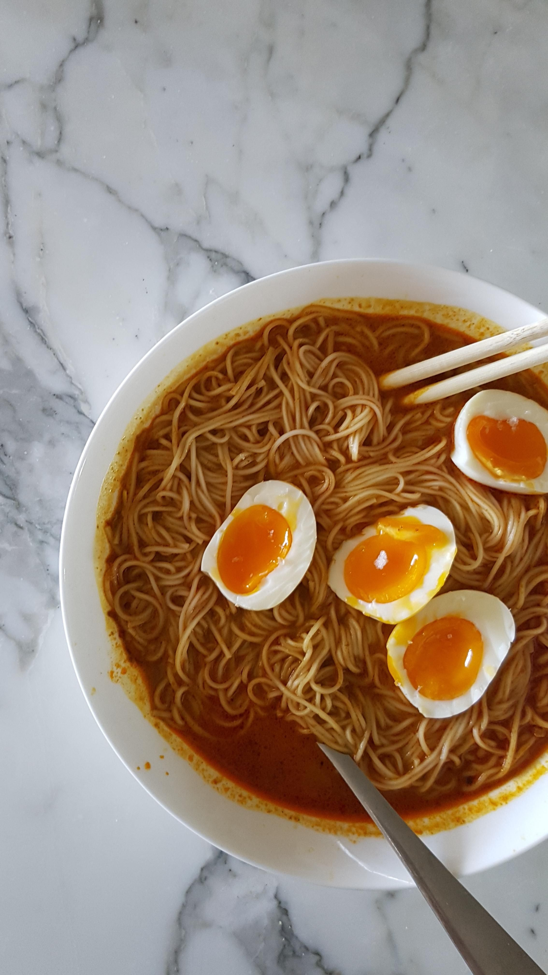 Homemade Malaysian Curry With Noodles And Soft Boiled Eggs Food