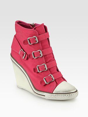 Ash Thelma Buckle-Up High-Top Wedge Sneakers