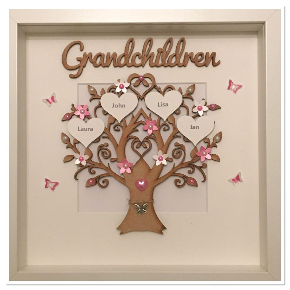 Personalised Grandchildren Family Tree 3D Box Frame Christmas Gift ...