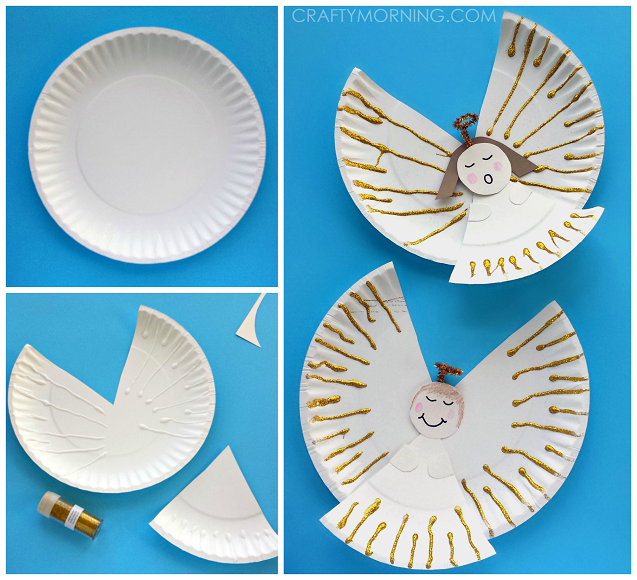 Here are my favorite christmas paper plate crafts for the kids to make! Find santa reindeers christmas trees wreaths and more art projects.  sc 1 st  Pinterest & Make some pretty little angels for a Christmas craft with your kids ...