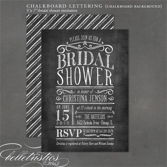 Chalkboard Bridal Shower Invitation Diy Print By Belletristics