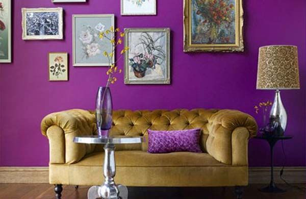 Purple Living Room With Gold Sofa Living Room Wall Color Purple