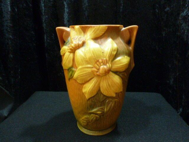 Vintage Roseville Pottery Clematis Autumn Brown 7 Vase 105 7
