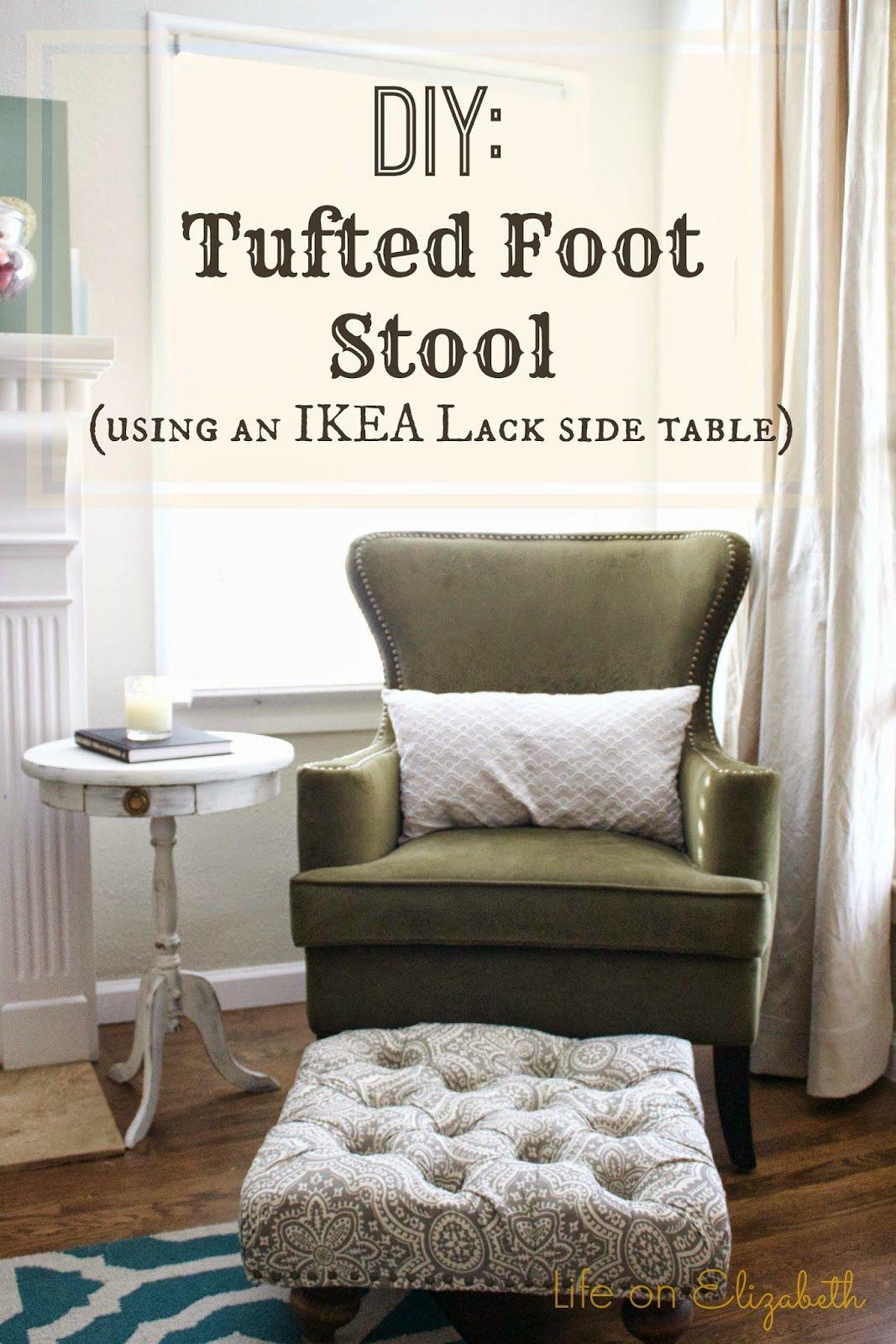 Life On Elizabeth Diy Tufted Ottoman With Ikea Lack Side