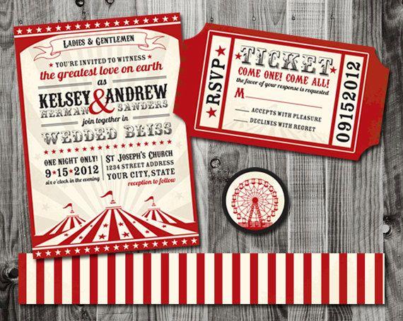 How Big Are Wedding Invitations: Circus Wedding Invitations Suite