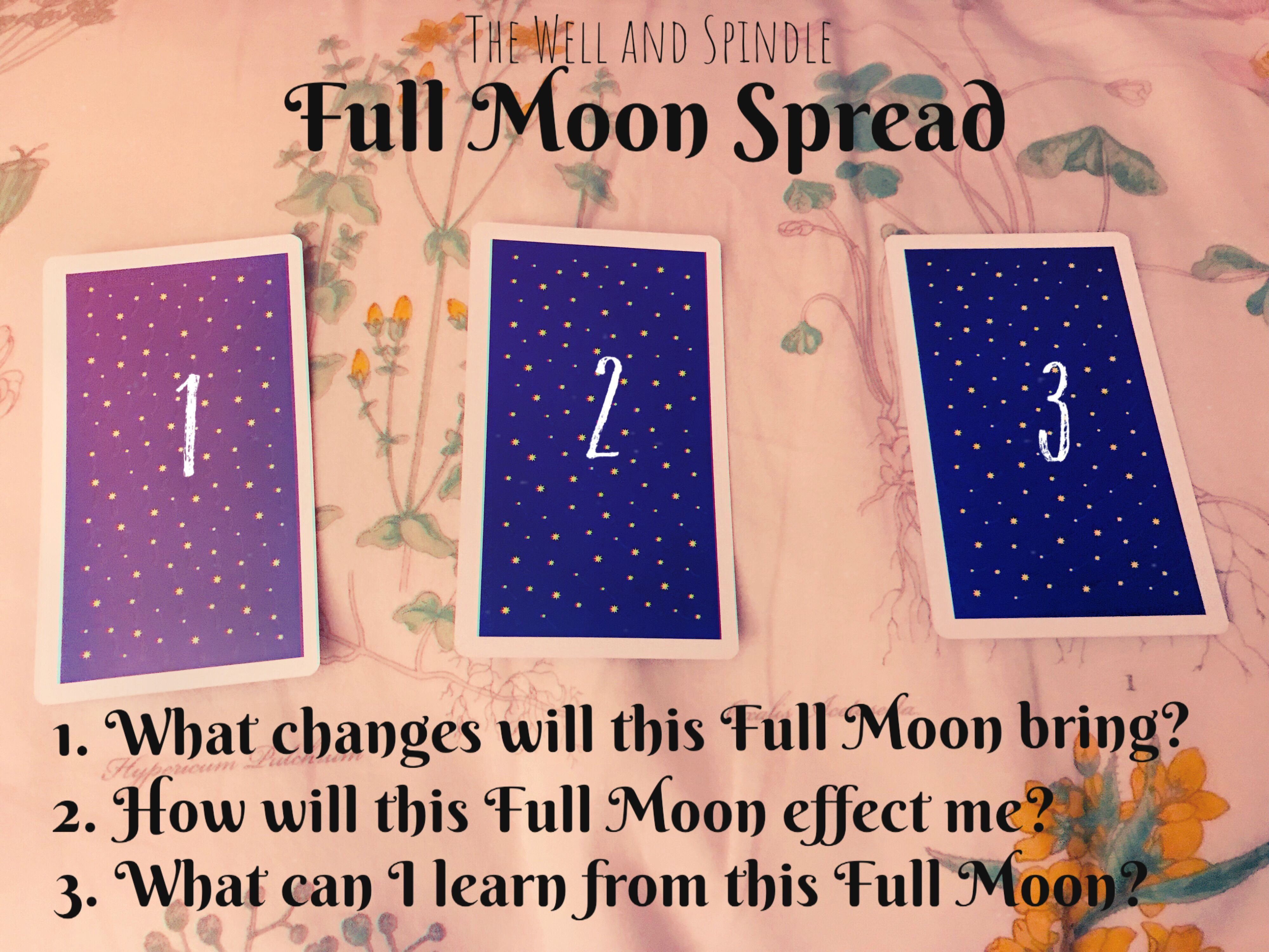Full Moon Tarot Spread #fullmoontarotspread I made up this last minute spread as the Super Blood Wolf Moon Eclipse was minutes away from it's maximum coverage. Thought I would share this simple spread for future full moon insightful readings. #fullmoonquotes