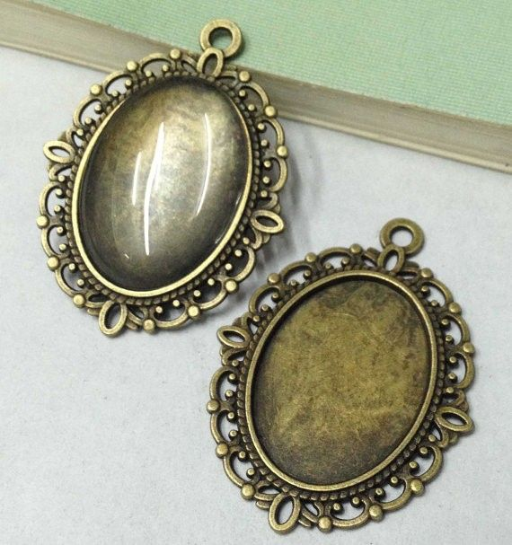 5sets Oval Alloy Blank Bezel Pendant Trays Antique Bronze /& Glass Cabochon