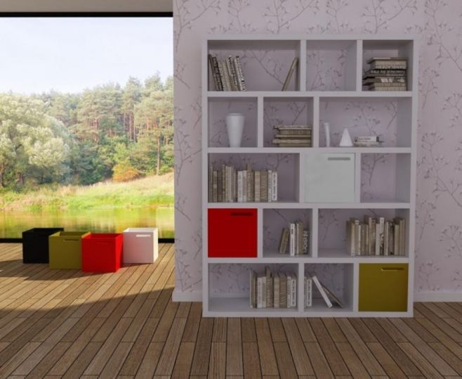 modern temahome berlin 5 level 150 cm shelving unit in oak or white opt storage boxes. Black Bedroom Furniture Sets. Home Design Ideas