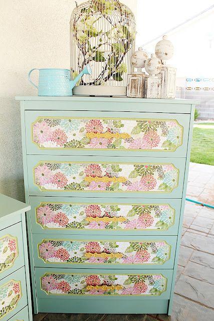 wall paper mod podge on a dresser\