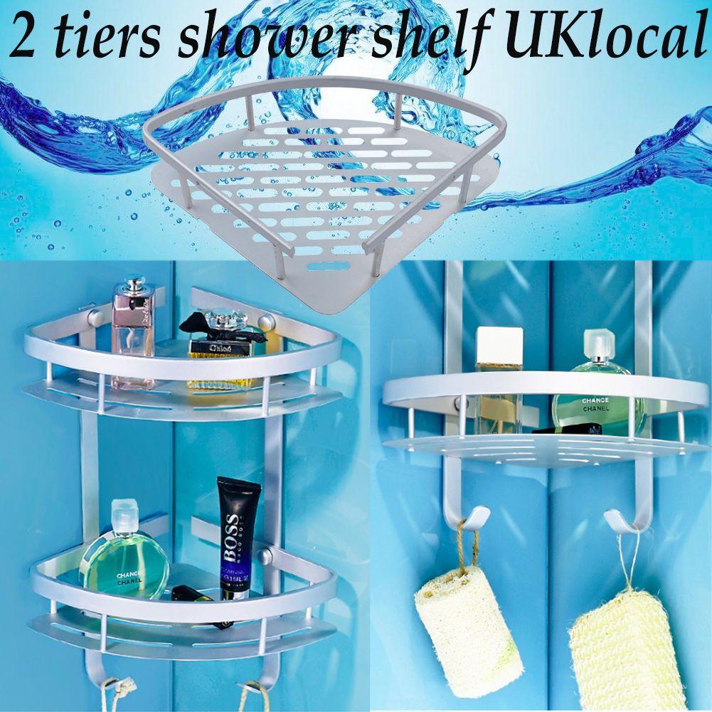 UK Shower Shelf Storage Aluminum Satina Corner Bathroom Shampoo ...