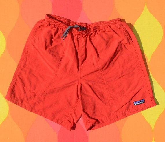 8138c2928d39c vintage 90s PATAGONIA baggies shorts bathing suit swim trunks red Medium beach  surf preppy