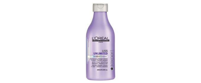 Liss Unlimited Shampoo - 250ml.  The formula, enriched with Pro-Keratin and Kukui and Evening Primrose Oils purifies the hair and scalp and provides 4 days of smoothing and frizz free hair even at 80% humidity.