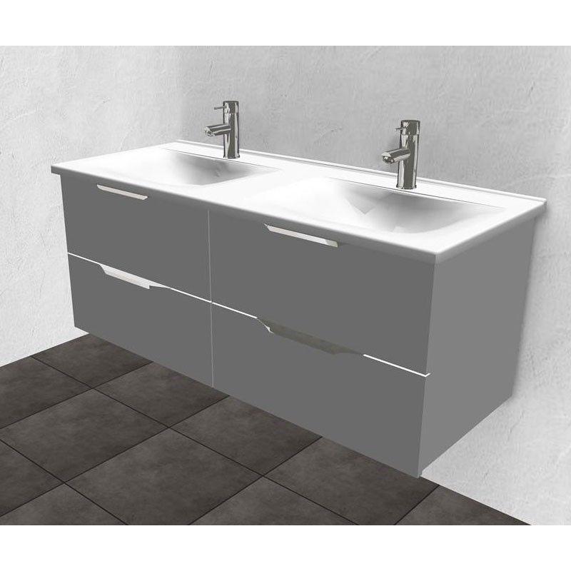 Burgbad Essento Keramik-Doppelwaschtisch mit Unterschrank - 350px x