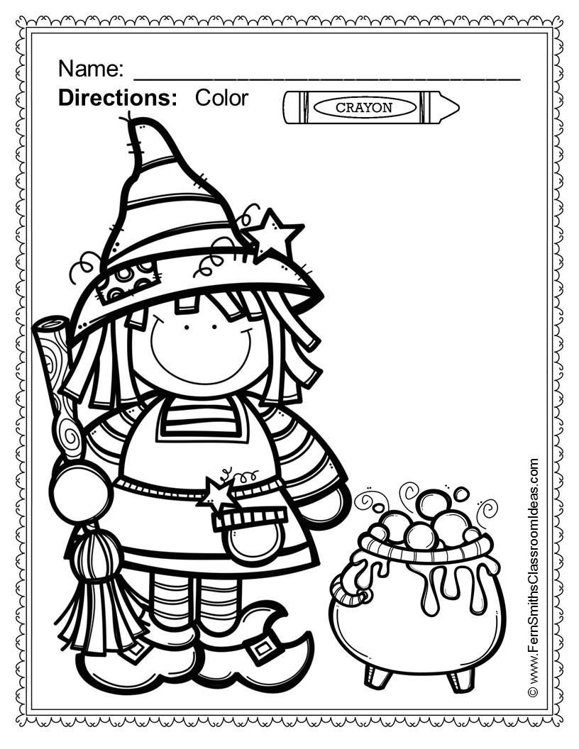 Free Halloween Coloring Page In The Free Download Preview Halloween Fun Color For Fun Printa Halloween Preschool Halloween Coloring Pages Halloween Coloring
