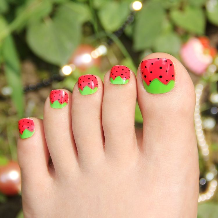 Kawaii Fake Toe Nails For Women And Children Strawberry Adorable 24pcs Toe Nails Tips Oval Toenails Short With Glue Stic Toe Nails Fake Toenails Stick On Nails