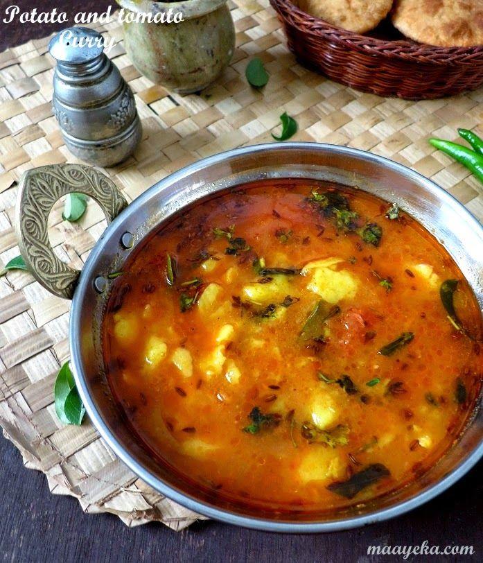 aloo tamatar ki subzi Tomato curry, Indian food recipes
