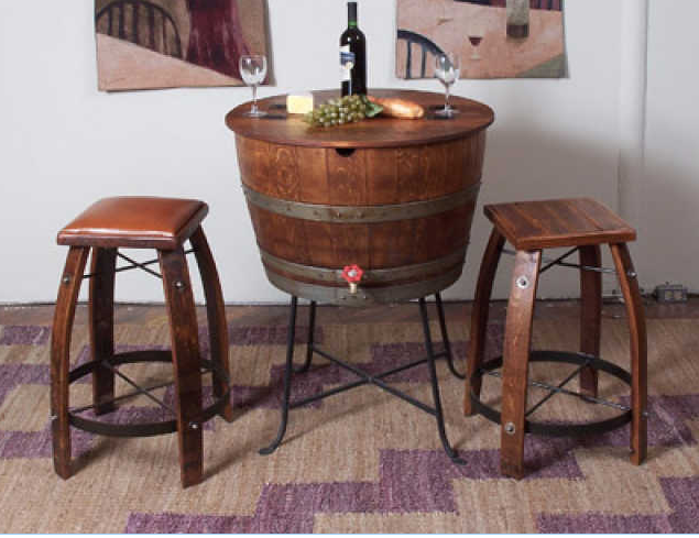 Half Full Barrel Beverage Cooler Wine Barrel Furniture Barrel