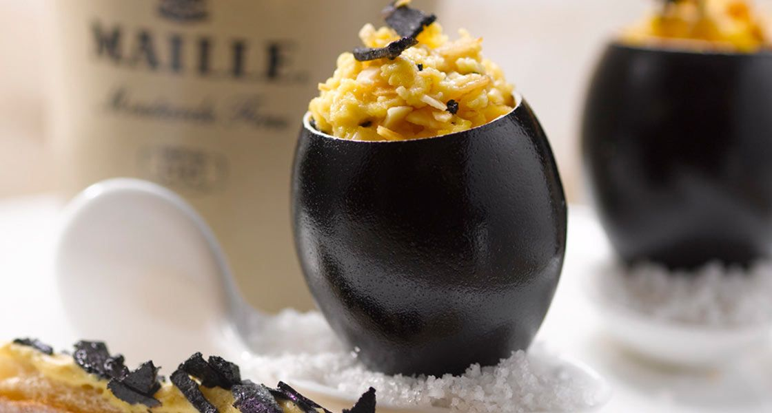 Scrambled Organic Eggs for a decadent and elegant brunch using the Black Truffles and Chablis white wine mustard.