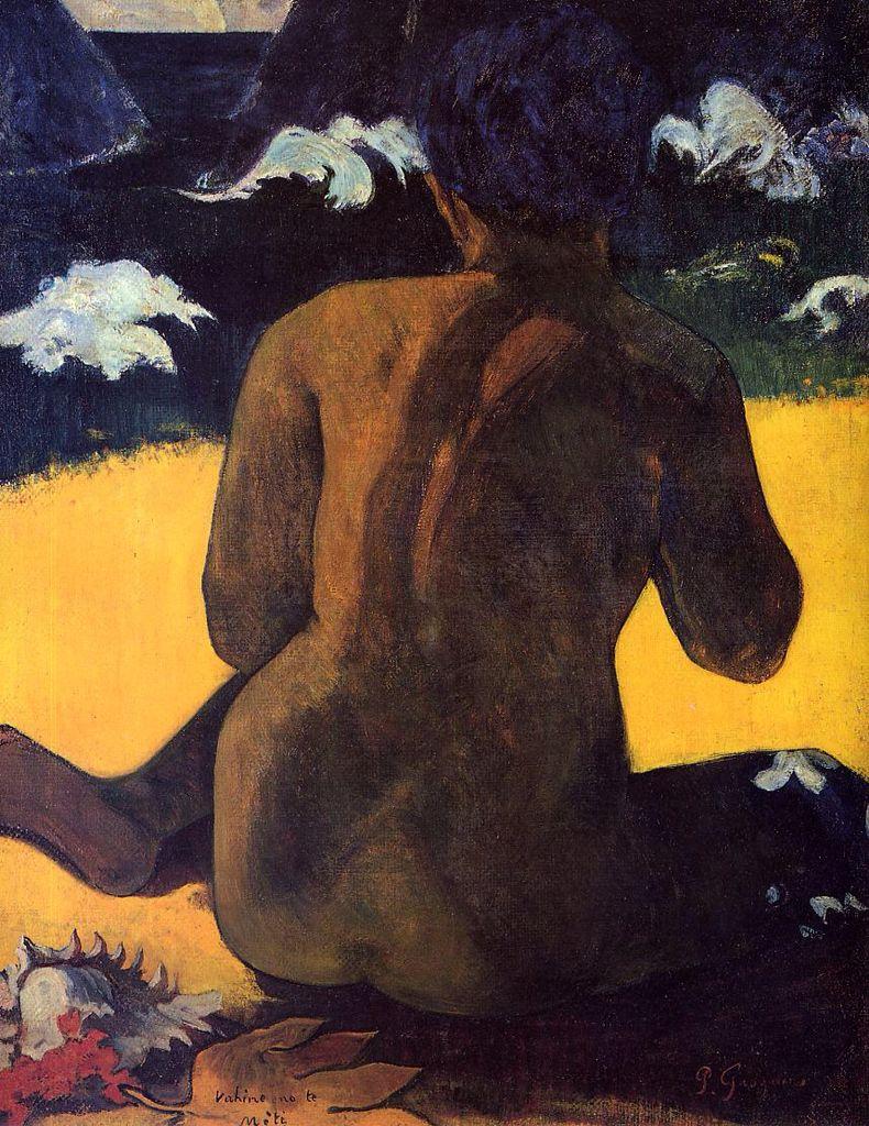 Gauguin. Stylized background. Nice sitting pose of back.